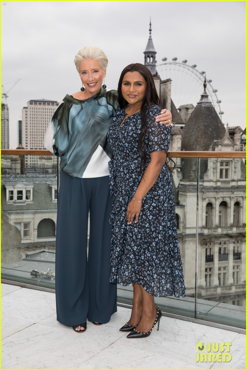 "Emma Thompson and Mindy Kaling buddy up during a London photocall for ""Late Night""."