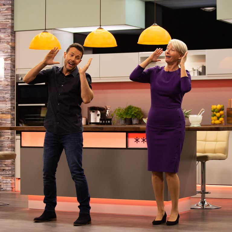 "Emma Thompson learns the ""Tragedy"" dance routine from Steps' Lee Latchford-Evans."