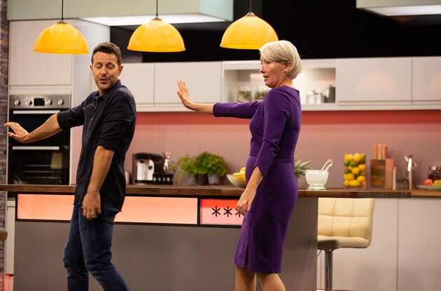"Emma Thompson learns the ""Tragedy"" dance routine from Steps' Lee Latchford-Evans during filming for ""Years and Years""."