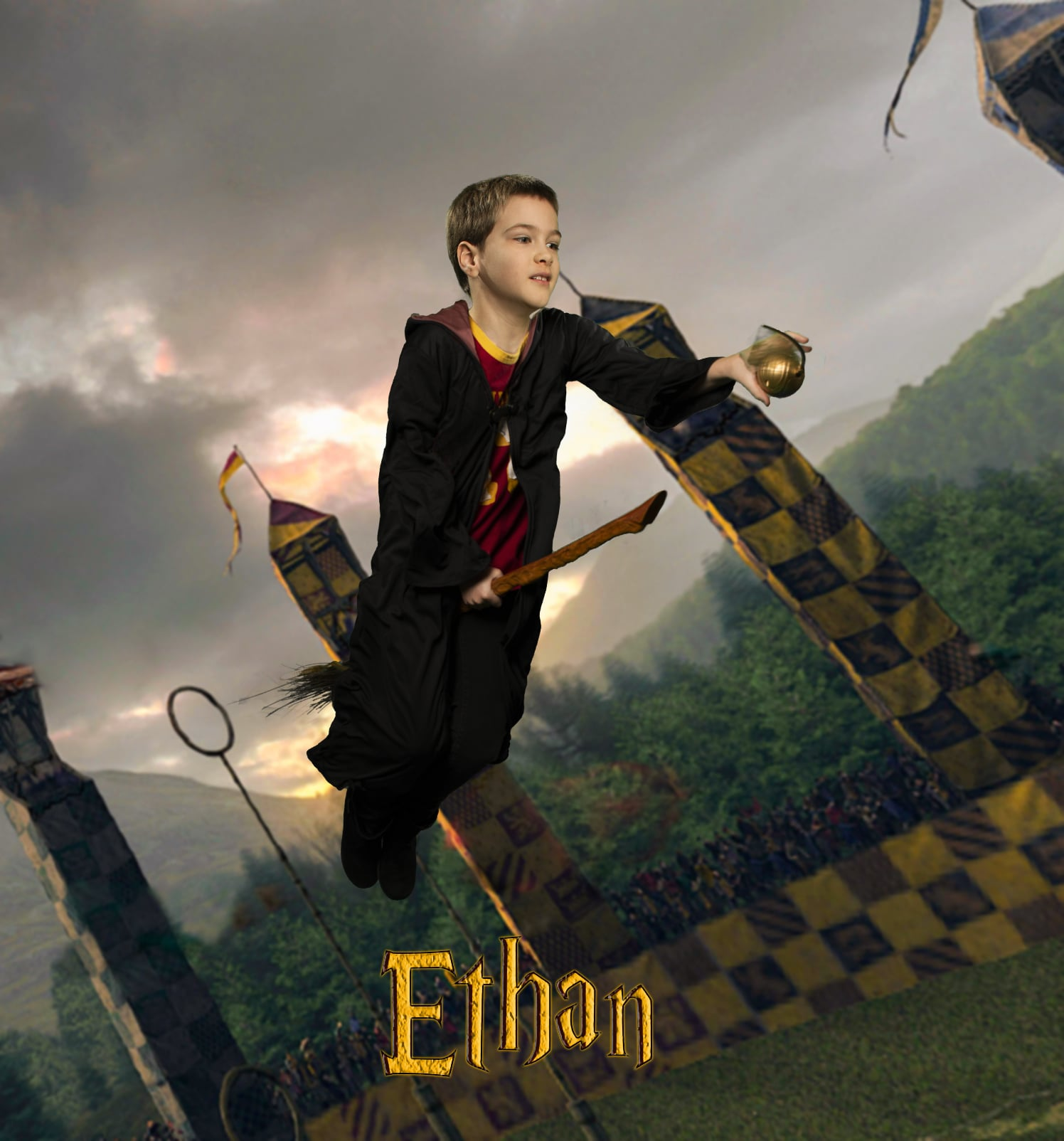 Ethan, who is 8 years old and autistic, had the chance to take to the skies and catch the Golden Snitch.