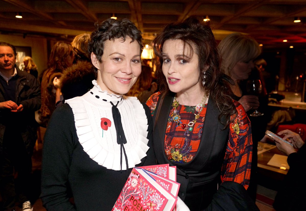 Helen McCrory and Helena Bonham Carter pose for a photo at a recent poetry event in London.