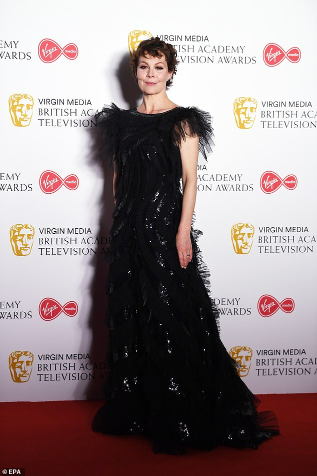 Helen McCrory shows off her gown at the BAFTA TV Awards.
