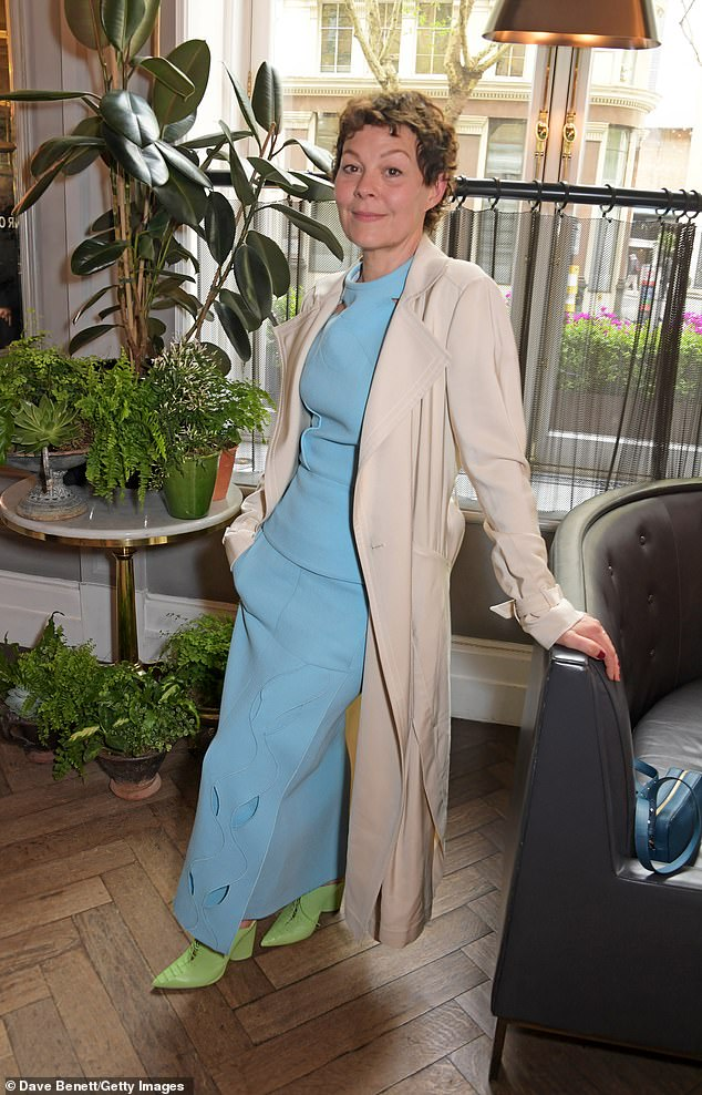 Helen McCrory shows off her striking lime-green heels at the Roland Mouret luncheon in London.