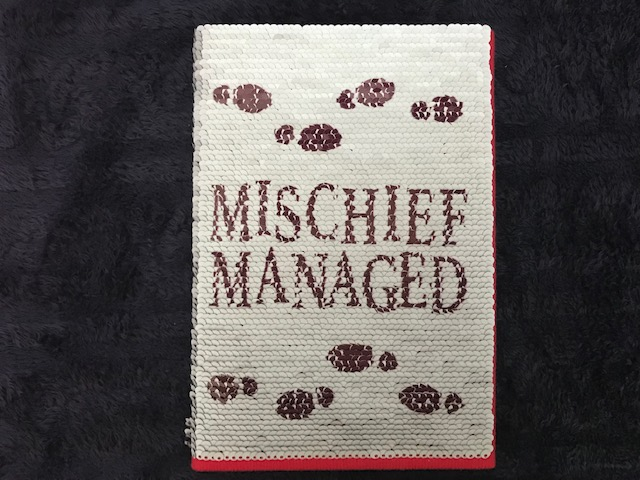 "Harry Potter: Manage Your Mischief Marauder's Map Sequin Notebook alternate cover, white sequins with quote ""Mischief managed"""