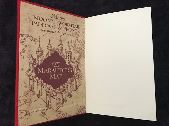 Harry Potter: Manage Your Mischief Marauder's Map Sequin Notebook inside of front cover, Marauder's Map design