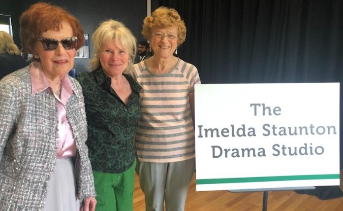 Imelda Staunton smiles alongside two of her former teachers, Maureen O'Brien, left, and Susan Hall.