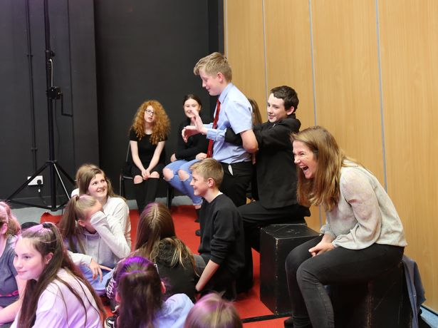 Jessica Hynes laughs with students during her visit to Cornwall.