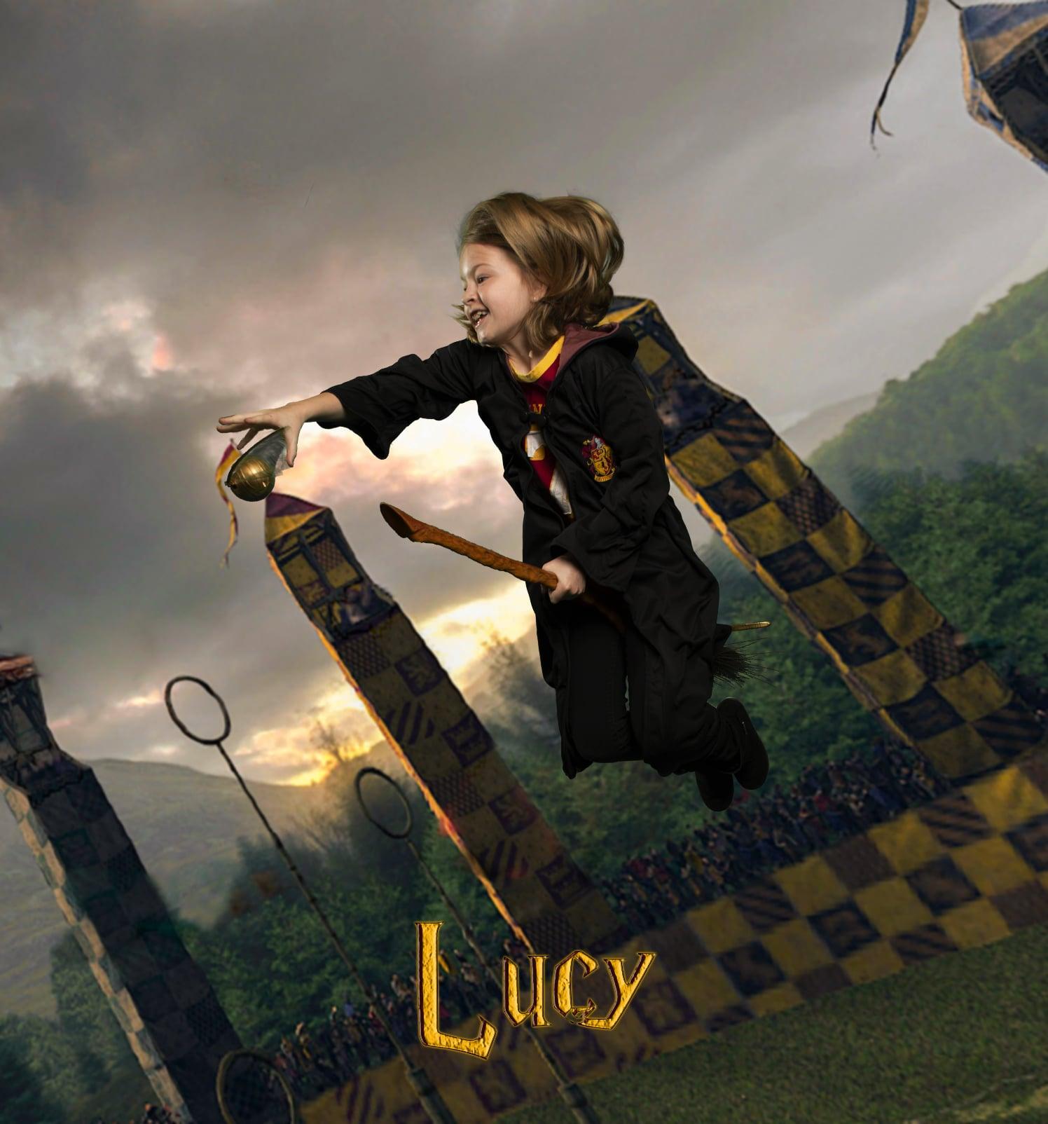Ethan's sister, 9-year-old Lucy, also had her chance to become a Gryffindor Seeker.