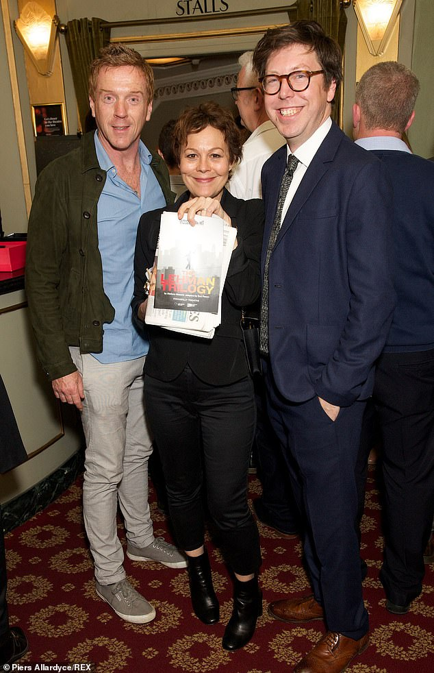 "Helen McCrory poses with husband Damian Lewis, left, and adaptor Ben Power at a press night for ""The Lehman Trilogy""."