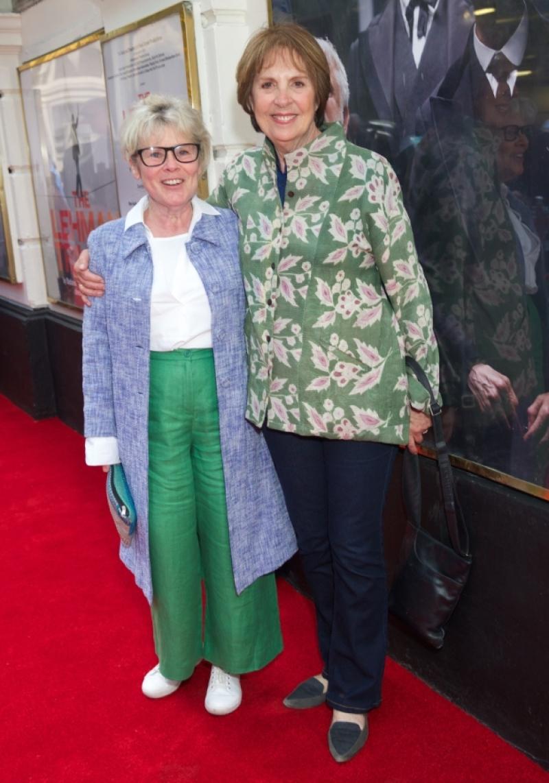 """Imelda Staunton smiles alongside fellow actress Penelope Wilton at a press night for """"The Lehman Trilogy""""."""