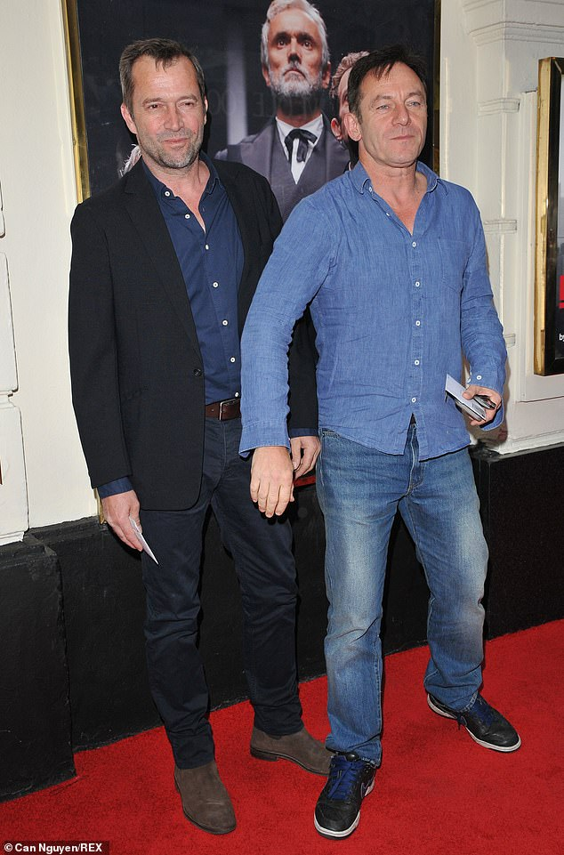 "Jason Isaacs jokes around with James Purefoy at a press night for ""The Lehman Trilogy""."
