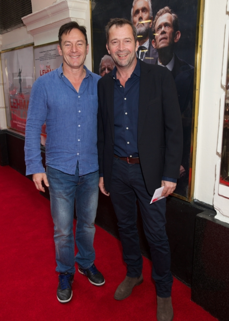 "Jason Isaacs and James Purefoy pose at a press night for ""The Lehman Trilogy""."