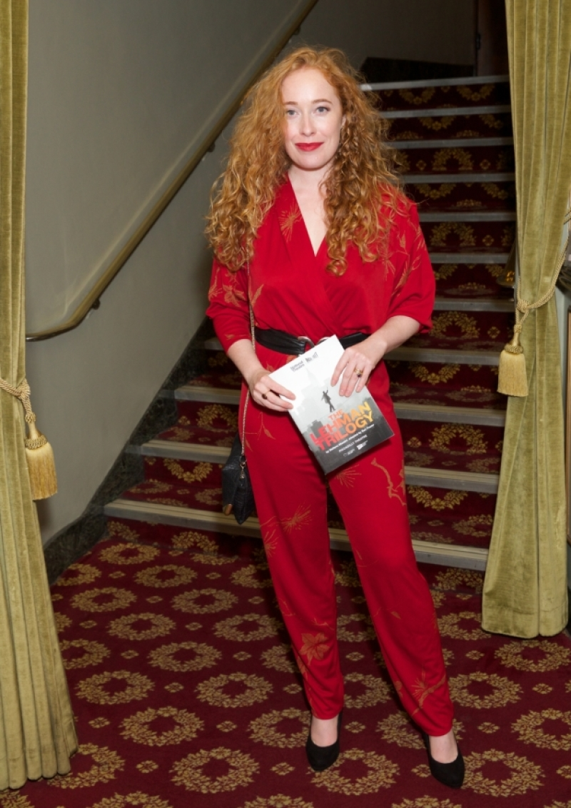"""Victoria Yeates poses at a press night for """"The Lehman Trilogy""""."""