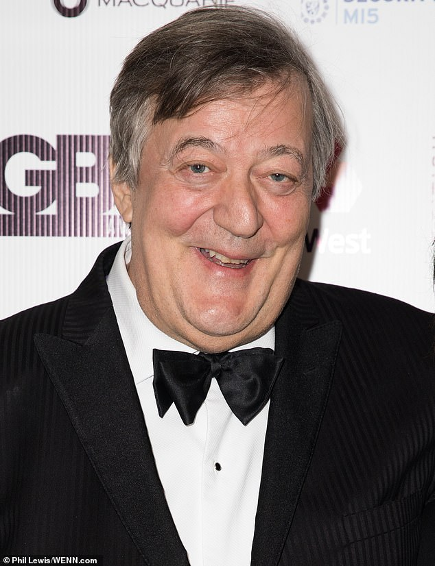 Stephen Fry is all smiles after receiving the Lifetime Achievement award at the British LGBT Awards.