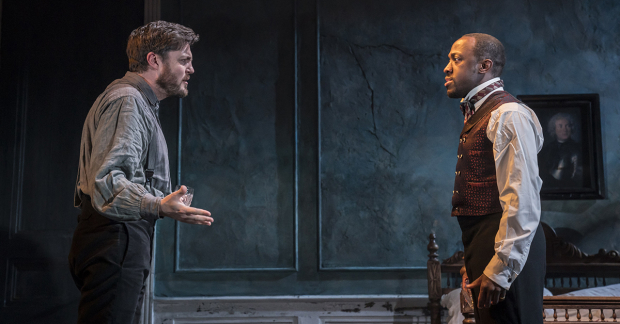 "Tom Burke and Giles Terera act in ""Rosmersholm""."