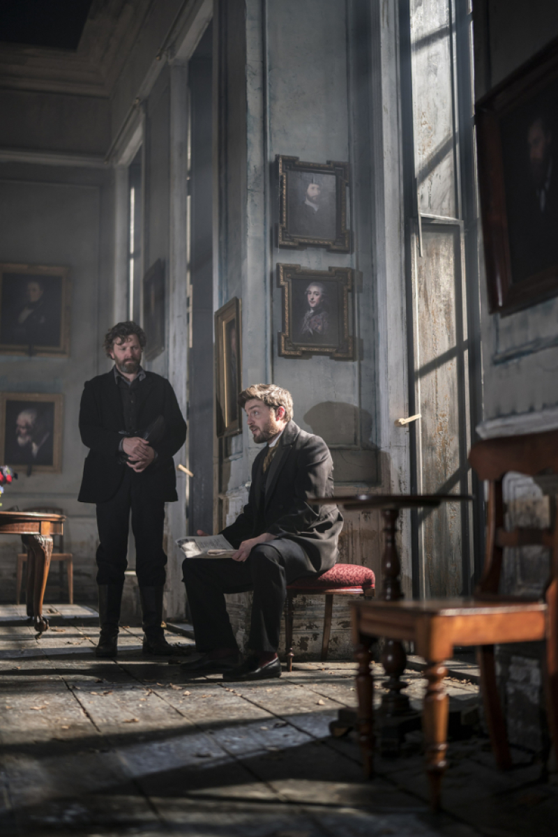 "Tom Burke and Piers Hampton are seen in this still from ""Rosmersholm""."