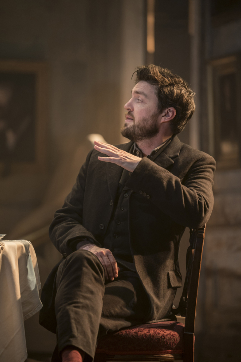 "Tom Burke acts in a scene from ""Rosmersholm""."