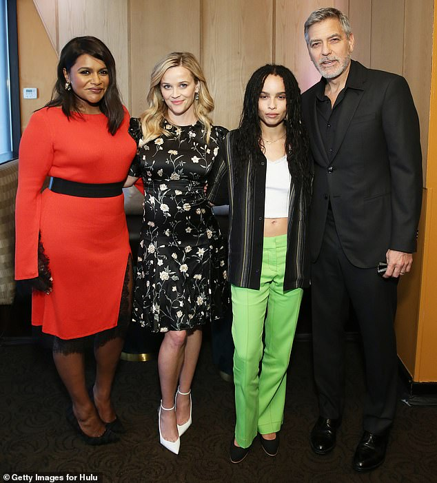 Zoë Kravitz poses with Mindy Kaling, Reese Witherspoon, and George Clooney at the Hulu Upfronts Convention.