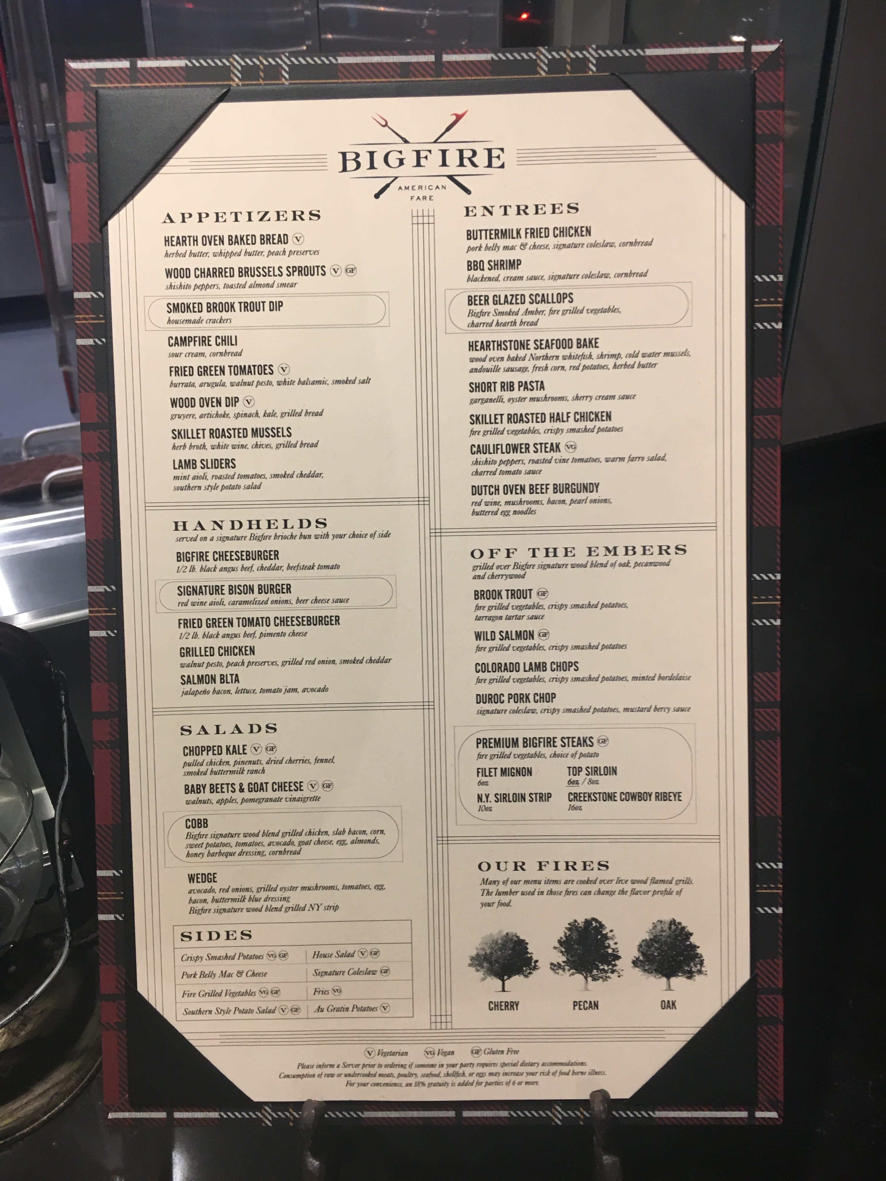 For an open-fire restaurant, Bigfire has many pescatarian and some vegetarian options.