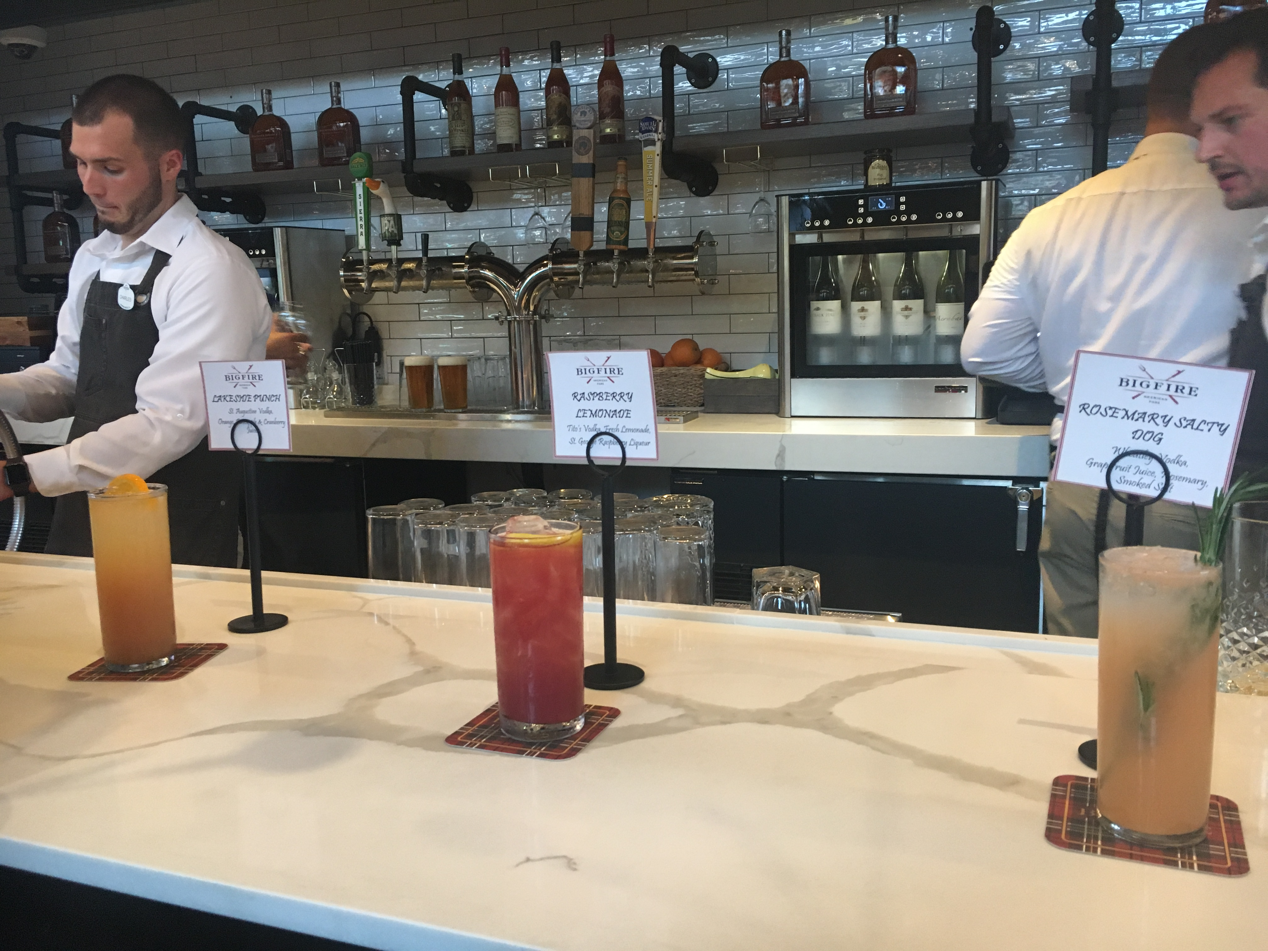 Bigfire serves a number of vodka-based cocktails, including lakeside punch, raspberry lemonade, and rosemary salty dog.