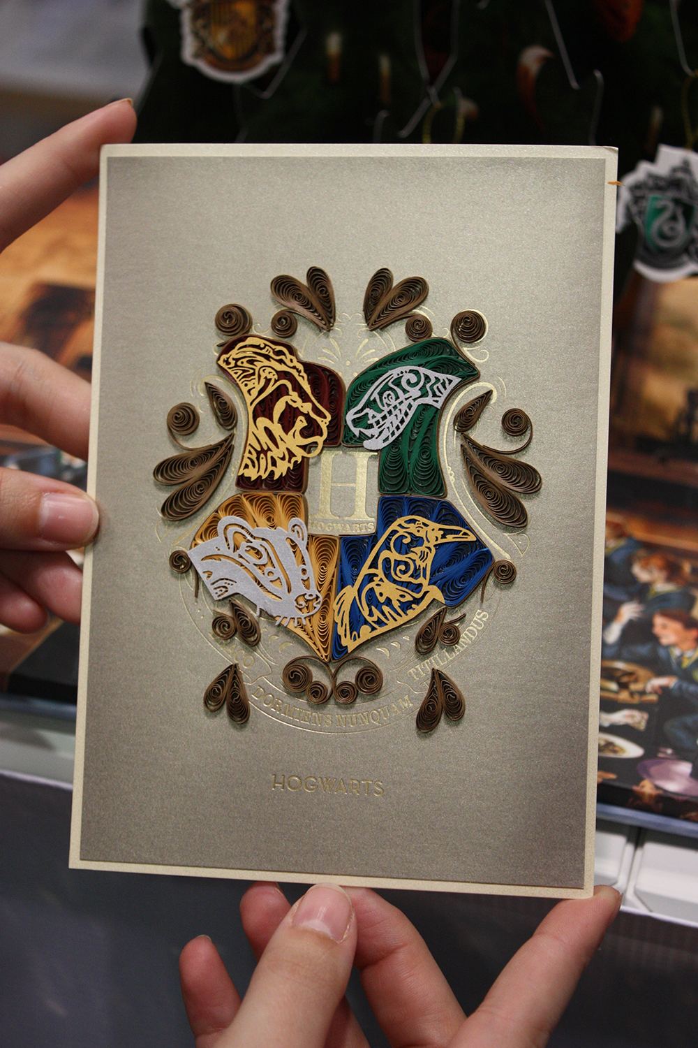 Quilled Hogwarts Houses card