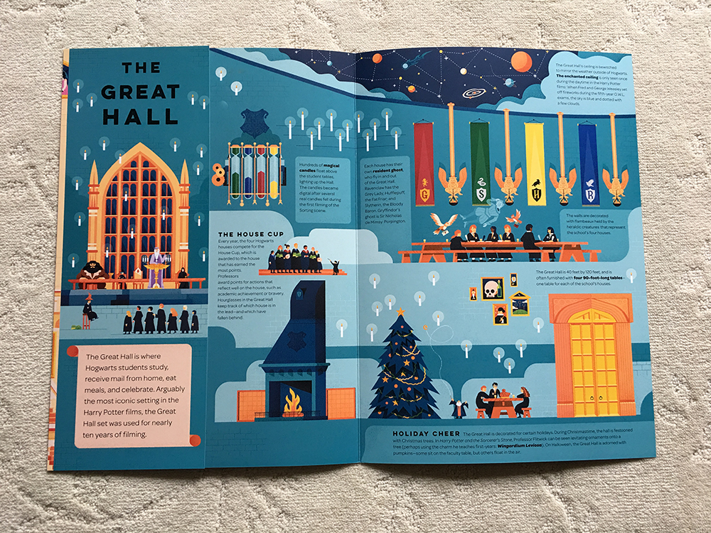 """Interior spread for """"Exploring Hogwarts: An Illustrated Guide"""""""