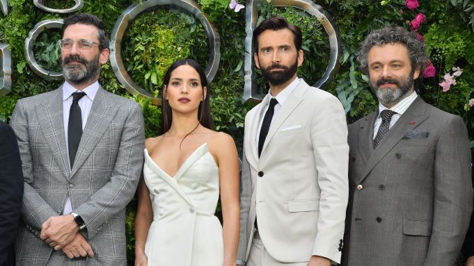 "David Tennant is joined by Jon Hamm, Adria Arjona, and Michael Sheen at the ""Good Omens"" premiere."