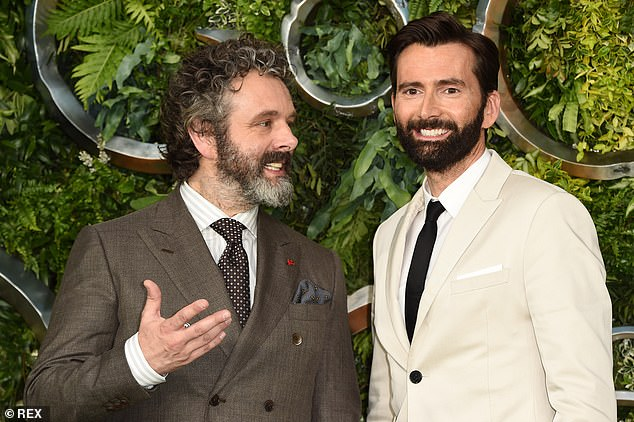 "David Tennant and Michael Sheen chat and pose for photos at the ""Good Omens"" premiere."