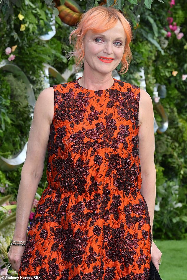 "Miranda Richardson poses for a photo at the ""Good Omens"" premiere."