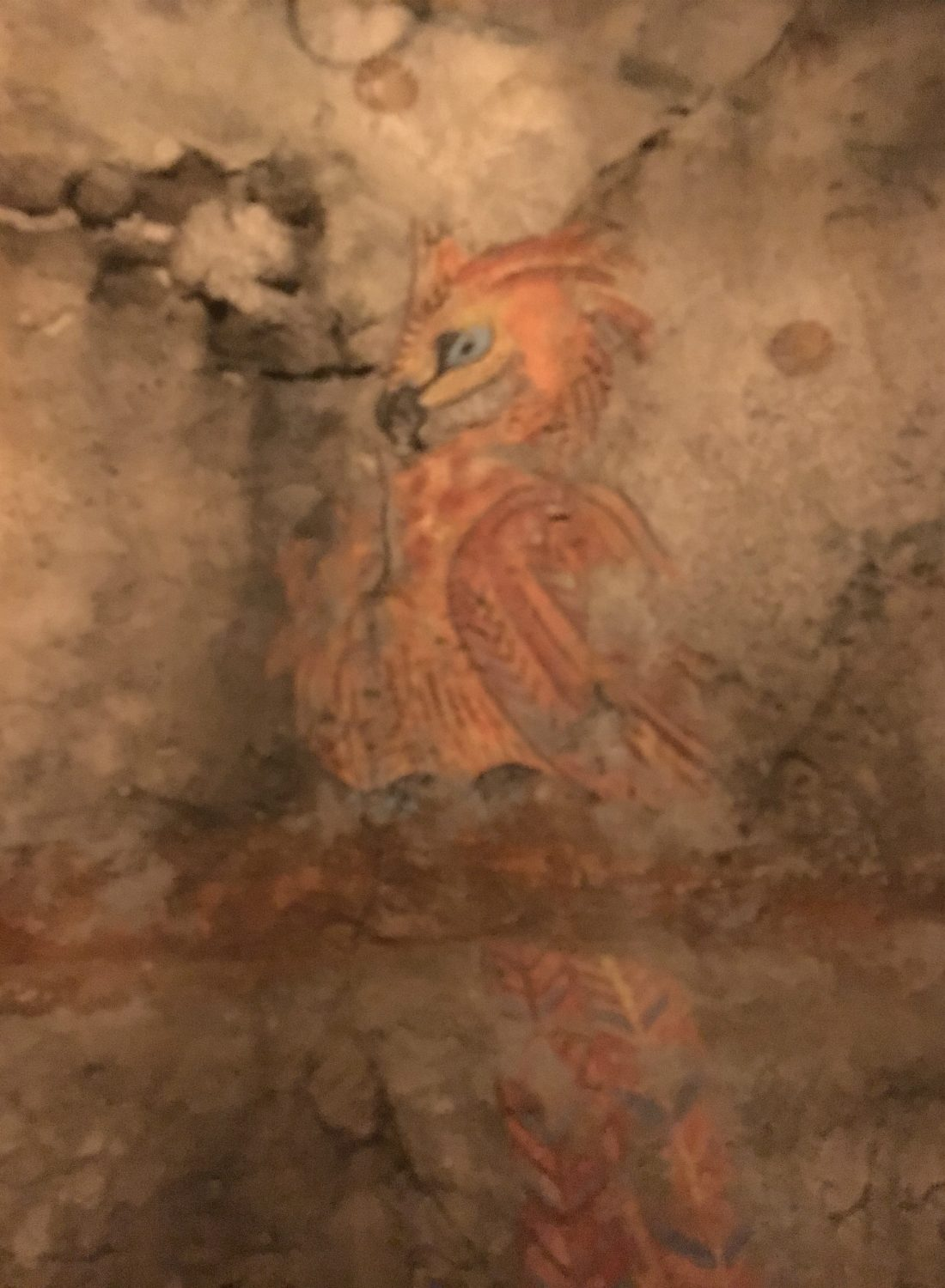 A particularly artistic student must have painted this baby phoenix born again from the ashes.