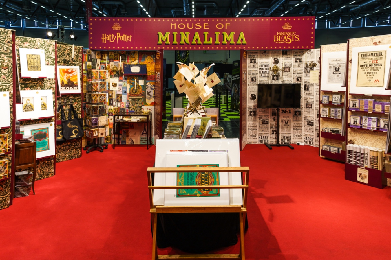 Inside the MinaLima stand at CCXP