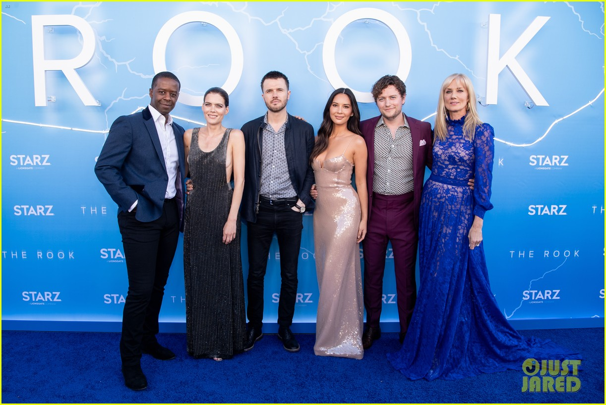 "Ronan Raferty (third from the left) wtih the cast of ""The Rook"" at the Los Angeles premiere"