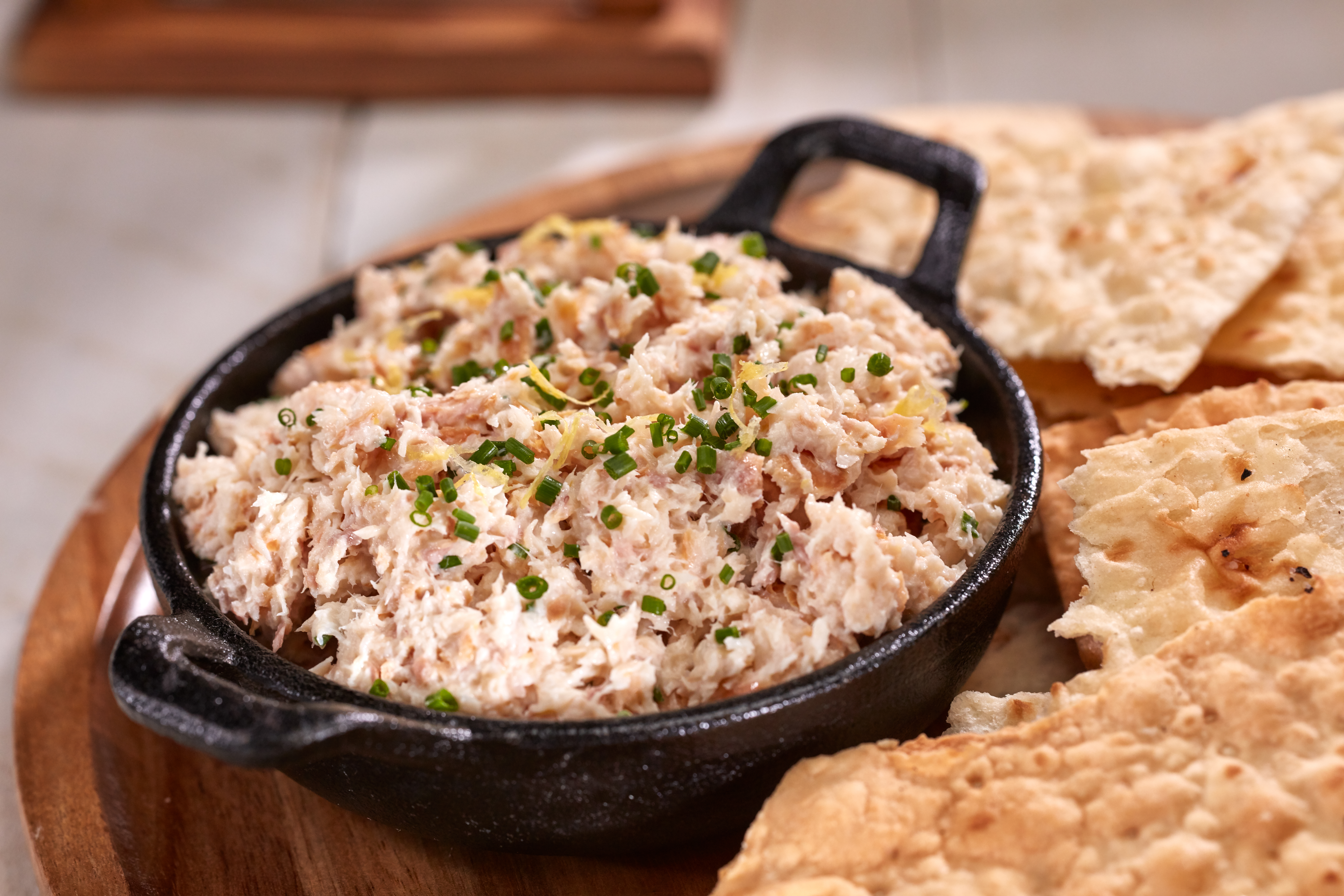 The smoked brook trout dip was served alongside thin, large crackers.