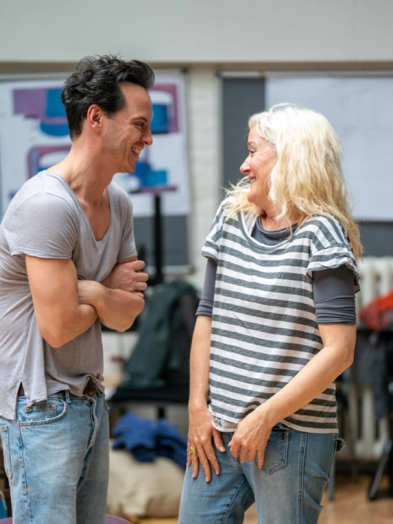"Sophie Thompson laughs with costar Andrew Scott during rehearsals for ""Present Laughter""."
