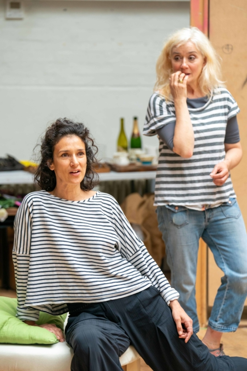 "Sophie Thompson and Indira Varma during rehearsals for ""Present Laughter""."