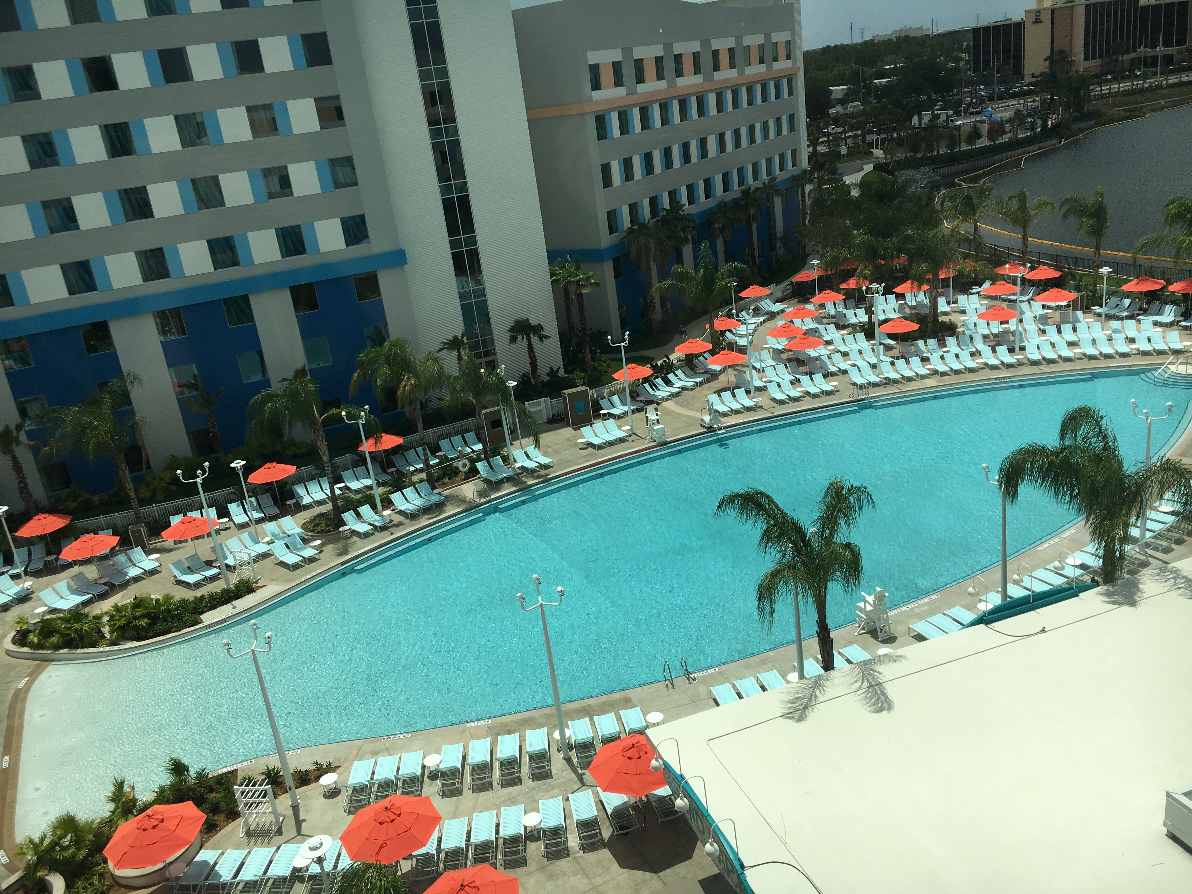 The pool at Surfside Inn & Suites is designed to look like a surfboard and is surrounded by 650 lounge chairs.