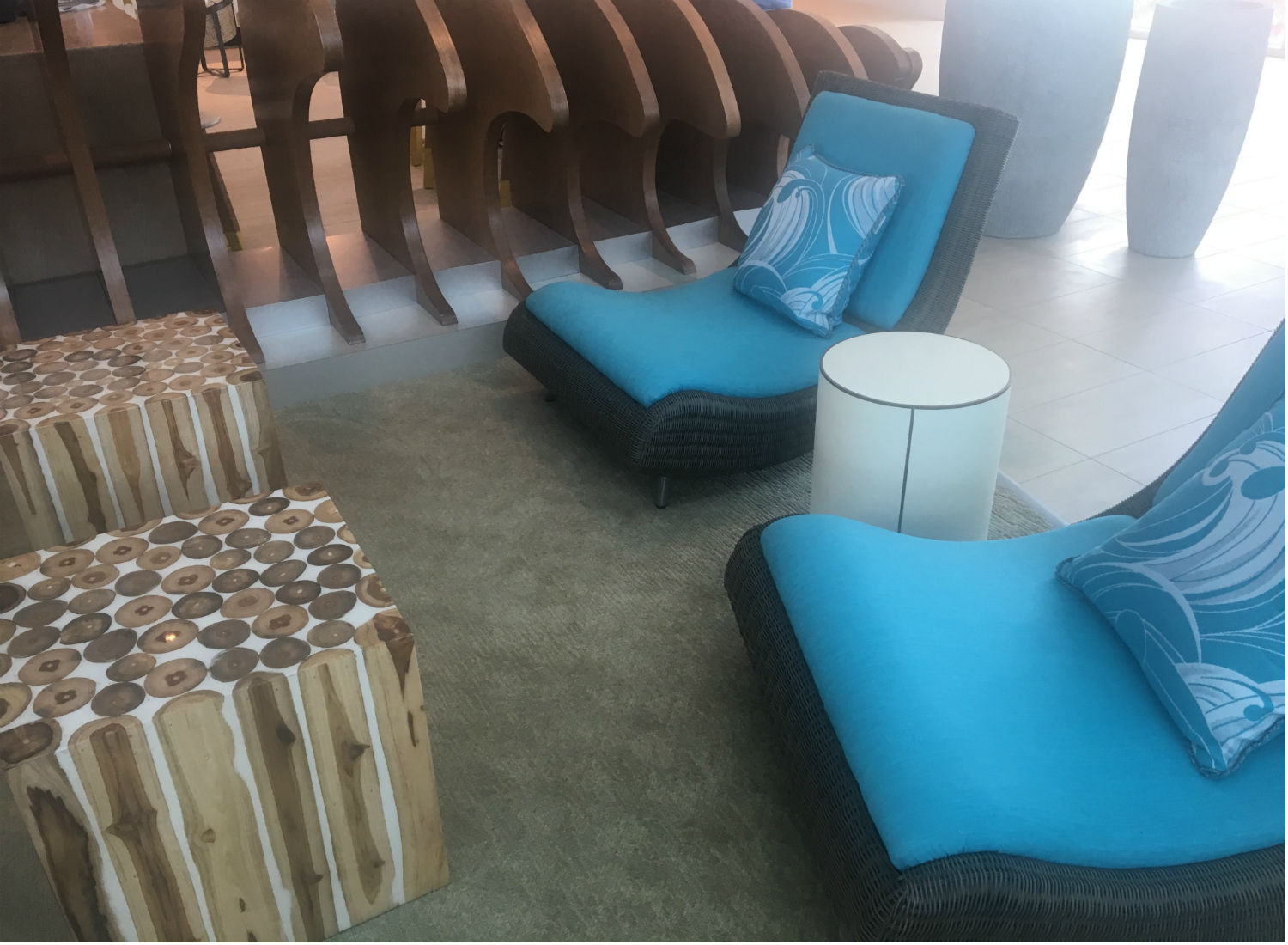 In keeping with the theme, lobby seating is white and bright blue.