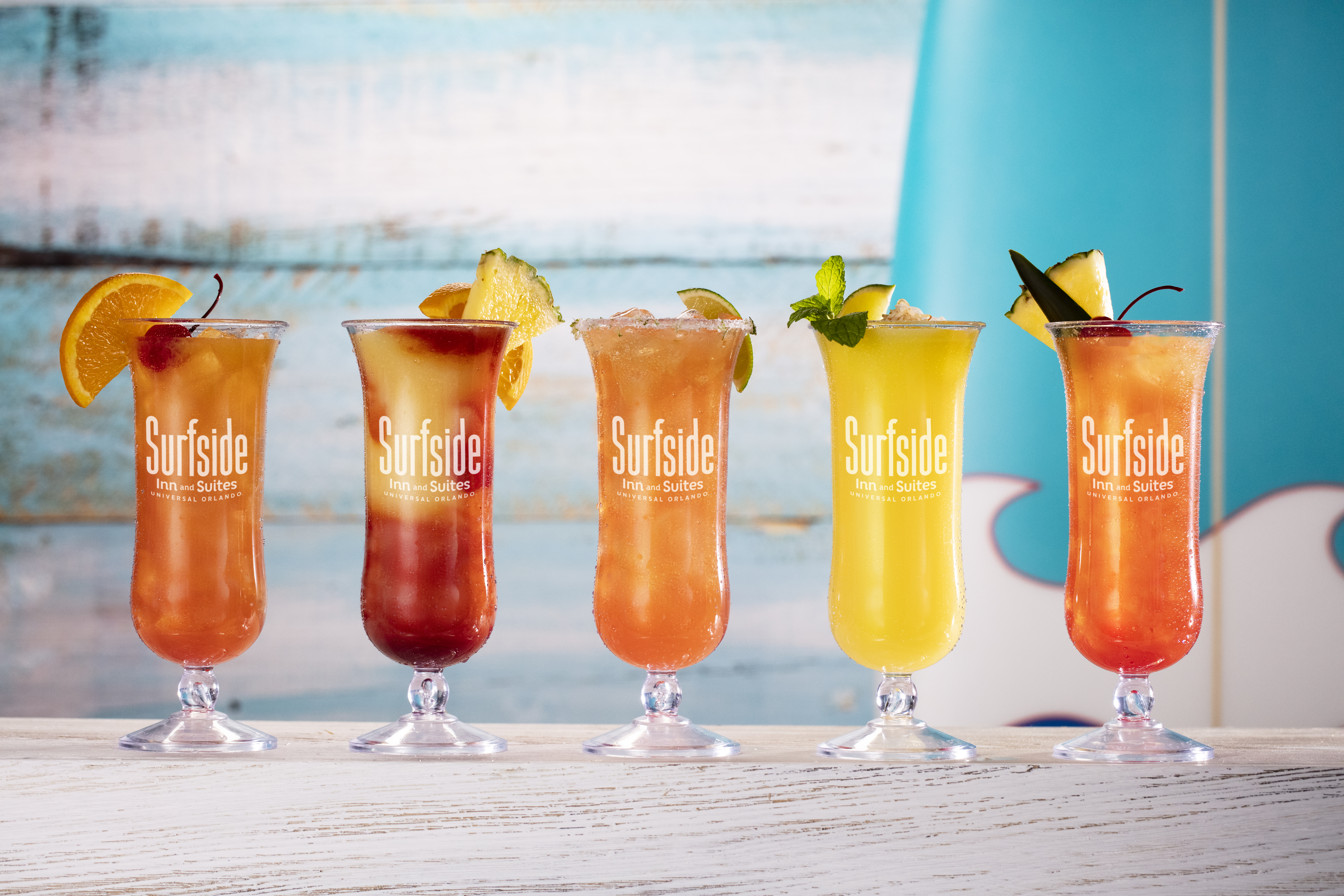The Surfside Inn & Suites pool bar offers a number of tropical cocktails.