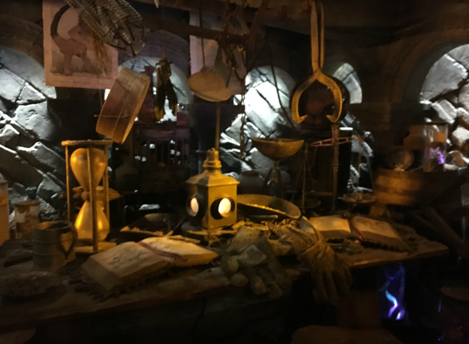 Hagrid's work table is full of items that are perfect for traveling into the Forbidden Forest and handling magical creatures – even at night.
