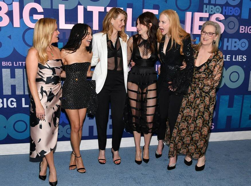 "Zoë Kravitz laughs with costars Reese Witherspoon, Laura Dern, Shailene Woodley, Nicole Kidman, and Meryl Streep at the ""Big Little Lies"" premiere."