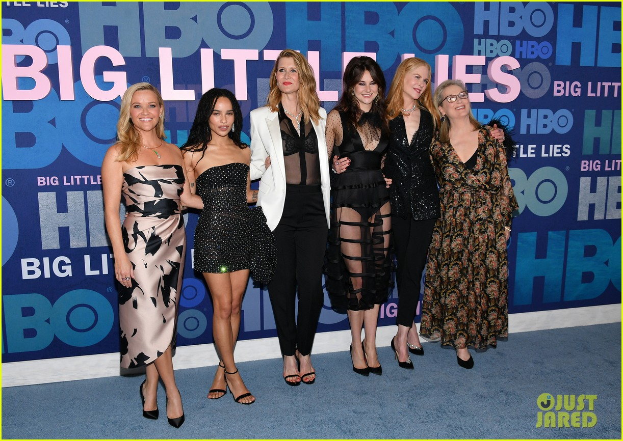 "Zoë Kravitz is joined by costars Reese Witherspoon, Laura Dern, Shailene Woodley, Nicole Kidman, and Meryl Streep at the ""Big Little Lies"" premiere."