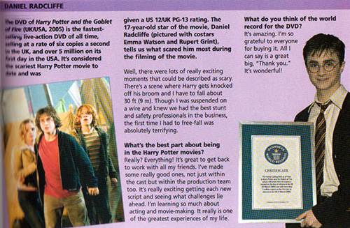 Daniel Radcliffe on Goblet of Fire being certified as fastest selling DVD - 2006