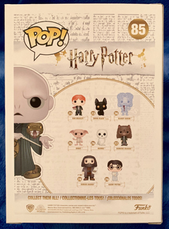 The back of the Voldemort Funko Pop! from Pop in a Box, showcasing a graphic of the Voldemort Funko Pop! and other Funko Pop! figures