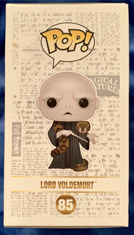 The side of the packaging of the Voldemort Funko Pop!, showing the graphic of the Voldemort Funko Pop! figure