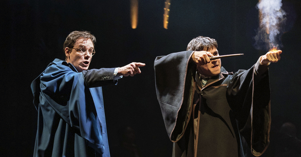 Jamie Ballard (Harry Potter) and Dominic Short (Albus Potter) ready their wands.