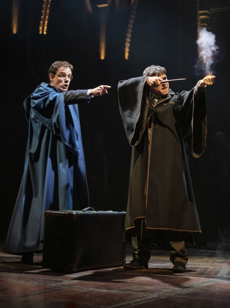 Jamie Ballard (Harry Potter) and Dominic Short (Albus Potter) have their wands at the ready.