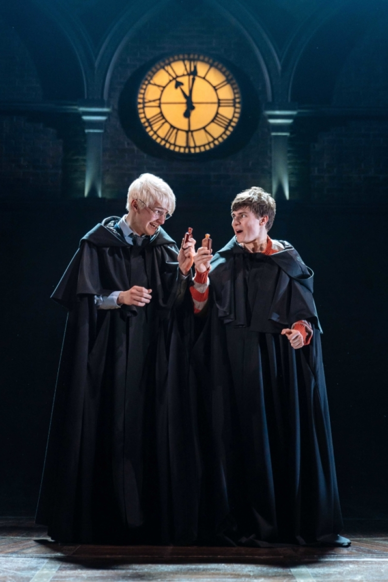 Jonathan Case (Scorpius Malfoy) and Dominic Short (Albus Potter) enjoy themselves.