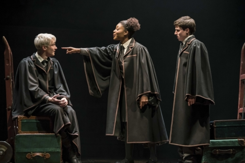 Rayxia Ojo (Rose Granger-Weasley) confronts Jonathan Case (Scorpius Malfoy) as Dominic Short (Albus Potter) looks on.