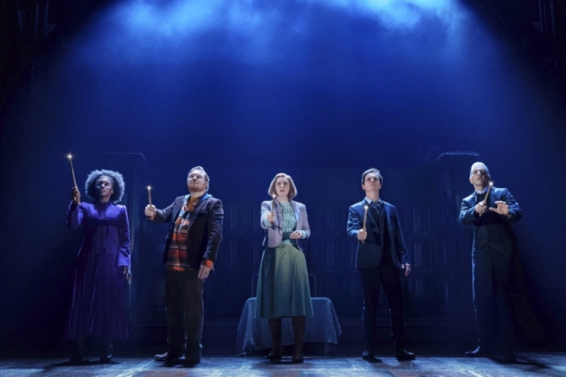 From left, Michelle Gayle (Hermione Granger), Thomas Aldridge (Ron Weasley), Susie Trayling (Ginny Potter), Jamie Ballard (Harry Potter), and James Howard (Draco Malfoy) in a scene from the London production.