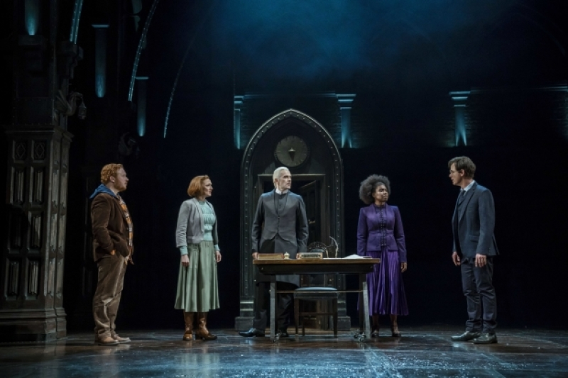 Thomas Aldridge (Ron Weasley), Susie Trayling (Ginny Potter), James Howard (Draco Malfoy), Michelle Gayle (Hermione Granger), and Jamie Ballard (Harry Potter) discuss their plans.